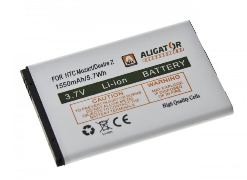 Baterie Aligator pro HTC Desire Z/7 Mozart, Li-ION 1550 mAh, nahrazuje BA S450