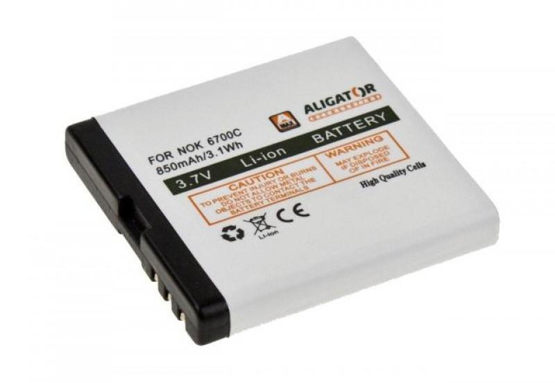 Baterie Aligator pro Nokia 6700c, Li-ION 850 mAh, kompatibilní, nahrazuje BL-6Q