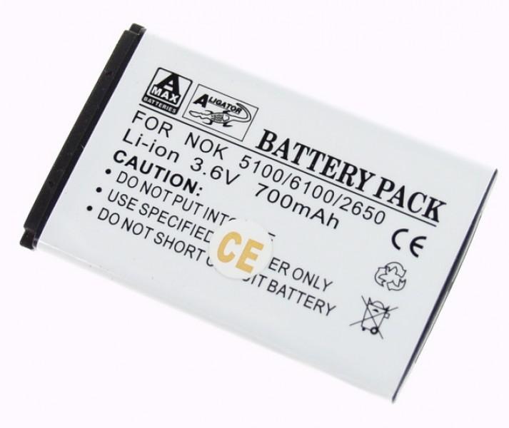 Baterie Aligator pro Nokia 5100/6100/6300/7200/2650, Li-ION 850 mAh, kompatibilní, nahrazuje BL-4C
