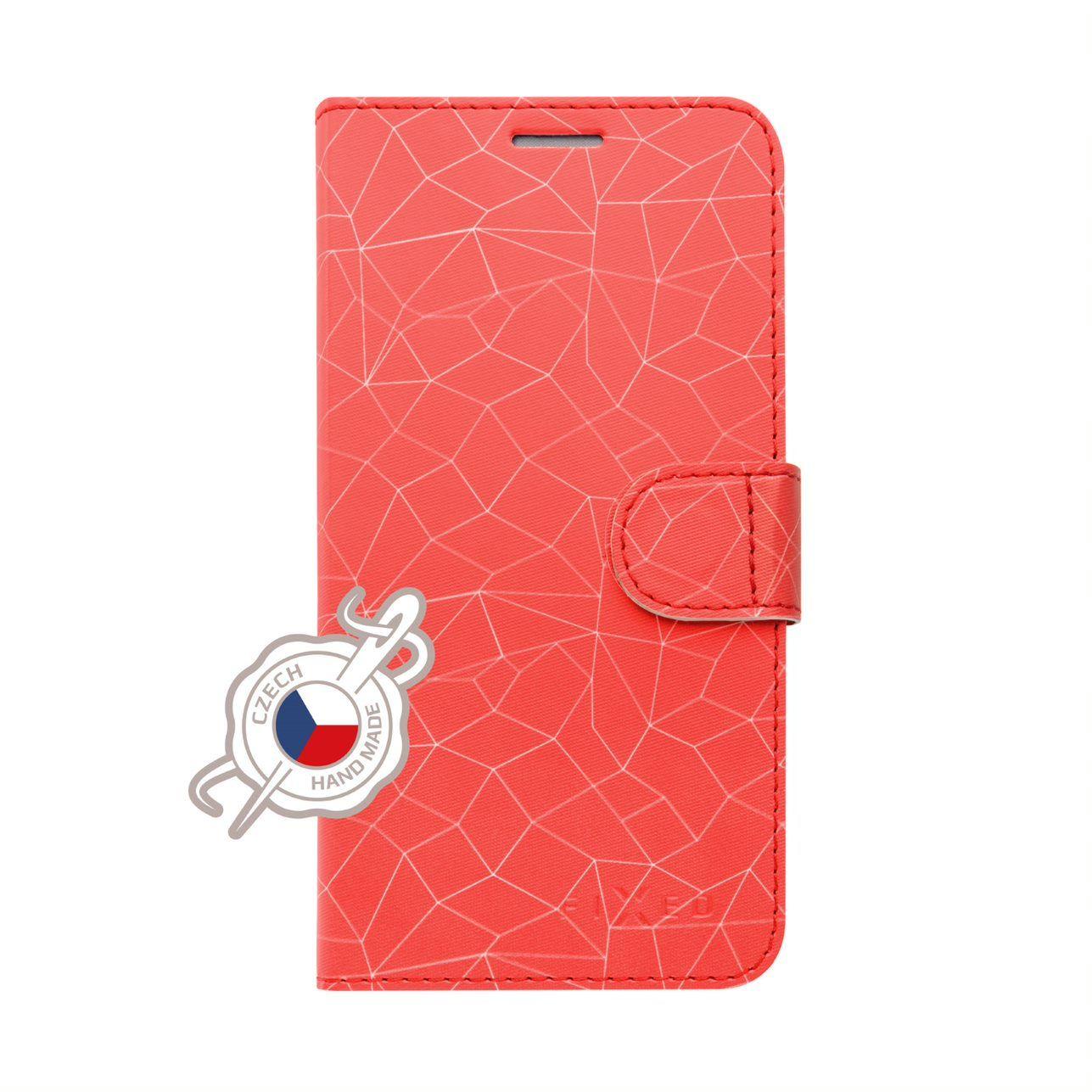 FIXED FIT flipové pouzdro pro Huawei P Smart 2019, motiv Red Mesh