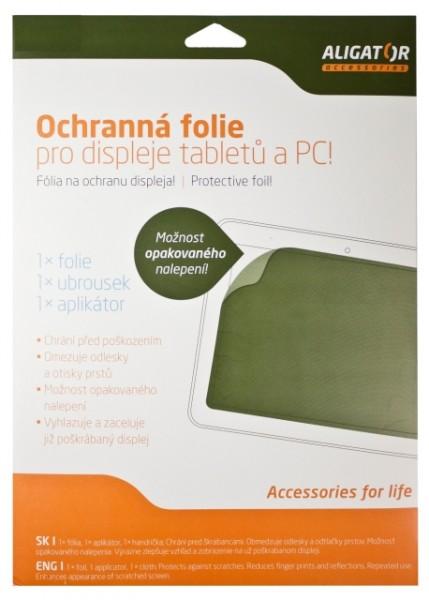"""Fólie ALIGATOR Tablet 7""""-8,9"""" (114x195mm) transparentní, univerzální s mřížkou, 1ks + aplikátor"""