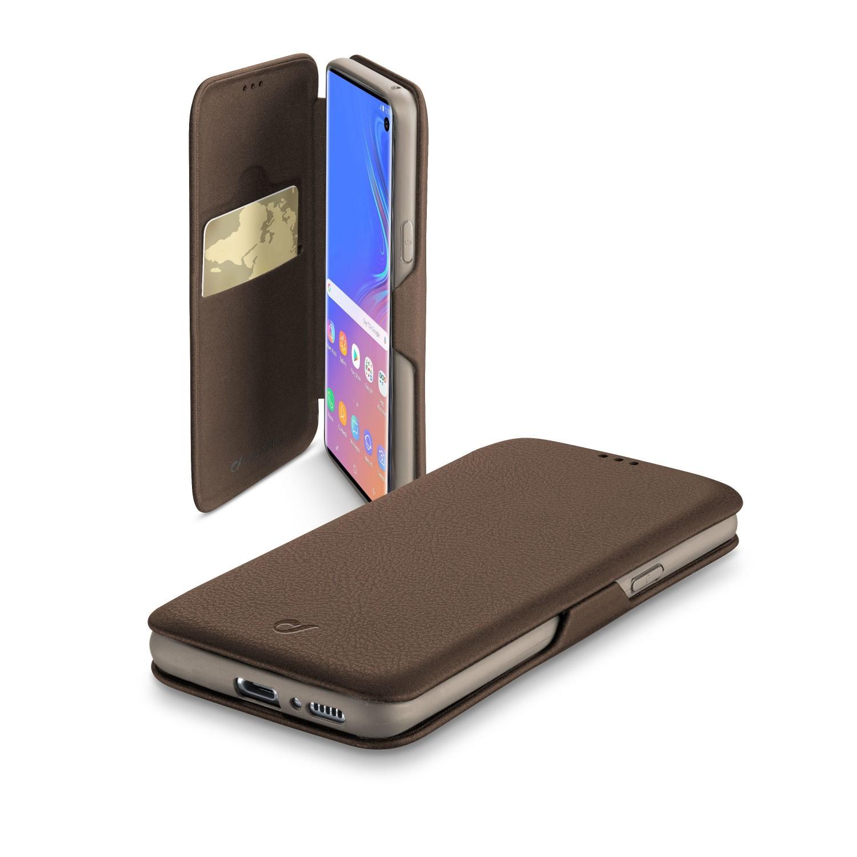 CellularLine Book Clutch flipové pouzdro pro Samsung Galaxy S10, hnědé
