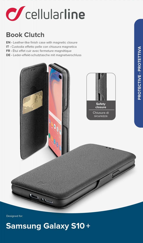 CellularLine Book Clutch flipové pouzdro pro Samsung Galaxy S10+, černé
