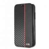 BMW Carbon Book BMBKTRI61CAPRB BMW pouzdro flip pro Apple iPhone XR black red stripe