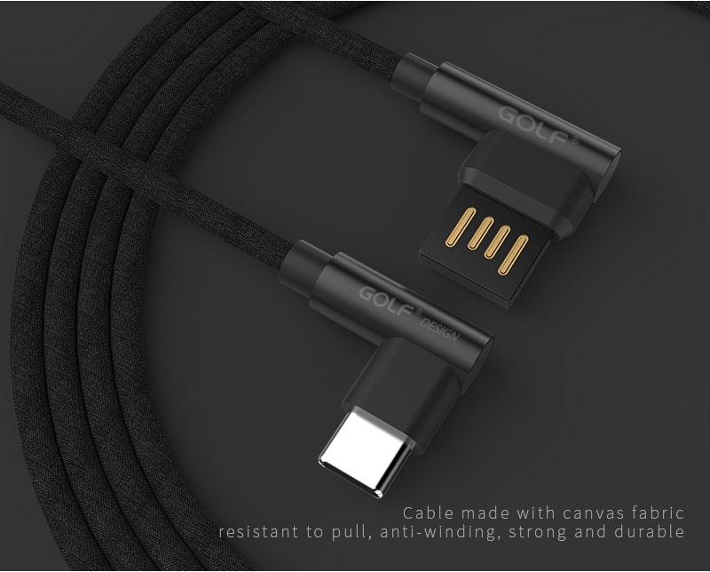 Oboustranný datový kabel GOLF GC-48t, USB kabel s 90° koncovkami, typ C, black
