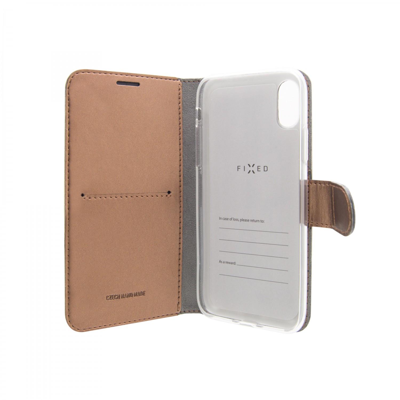 FIXED FIT SHINE flipové pouzdro pro Xiaomi Redmi Note 7/7 Pro, bronzové