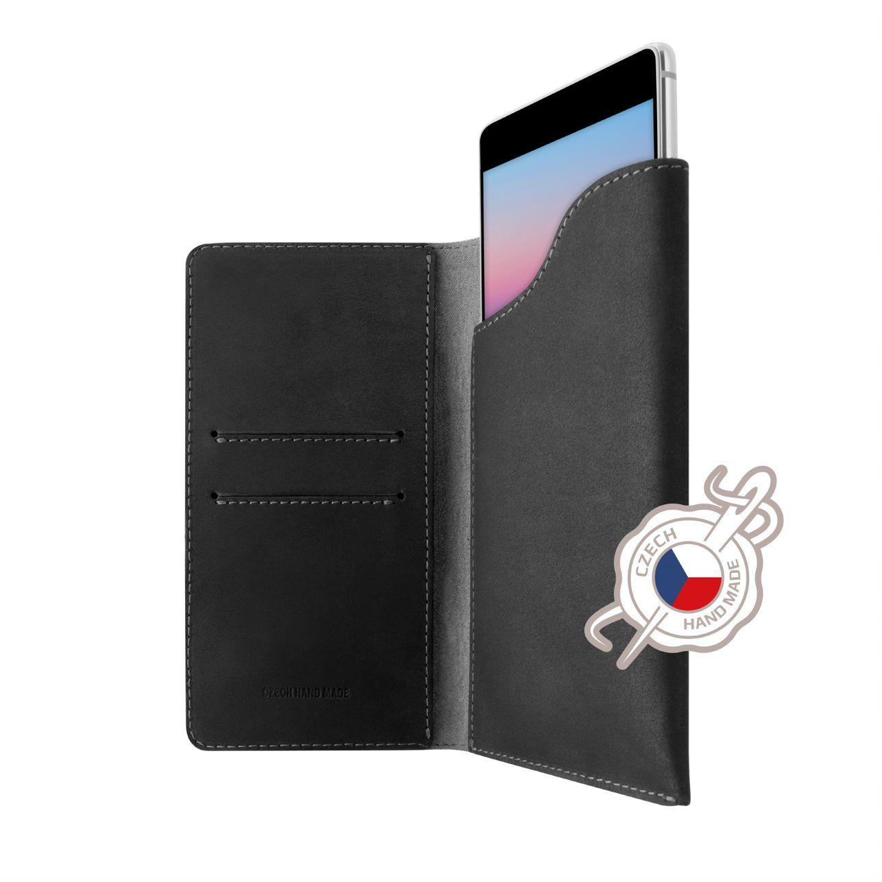 FIXED Pocket Book Kožené pouzdro pro Apple iPhone X/XS, šedé