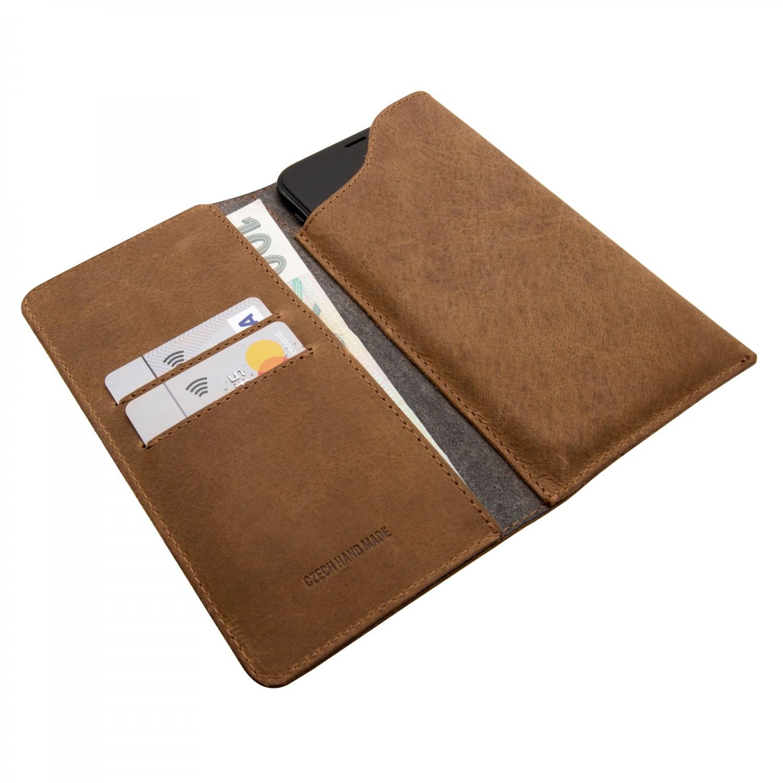 FIXED Pocket Book Kožené pouzdro pro Apple iPhone X/XS, hnědé