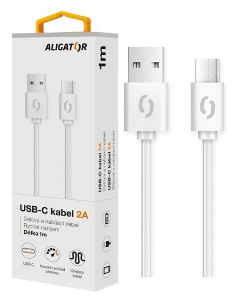 Datový kabel ALIGATOR 2A USB-C 1m, bílá