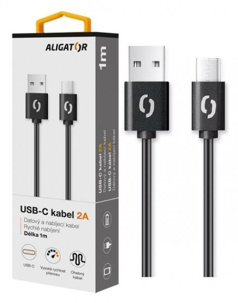 Datový kabel ALIGATOR 2A USB-C 1m, black