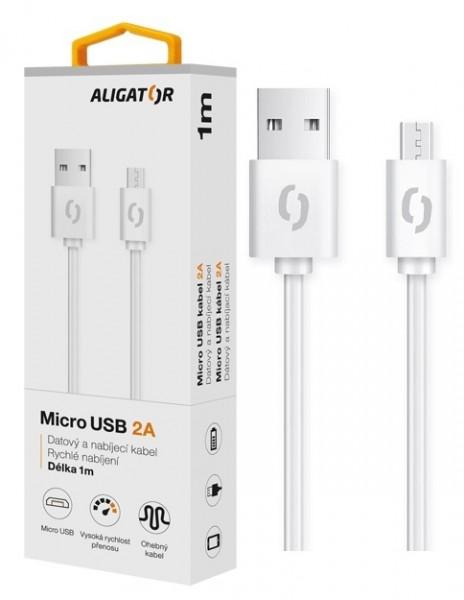 Datový kabel ALIGATOR 2A micro USB 1m, bílý