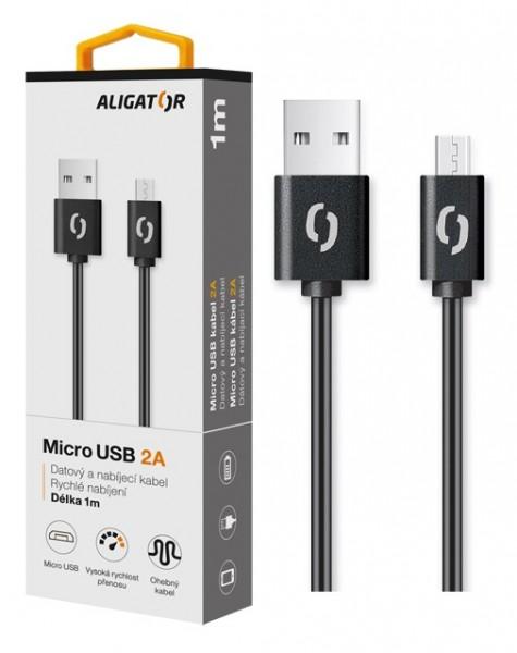 Datový kabel ALIGATOR 2A micro USB 1m, Black