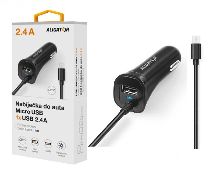 Nabíječka do auta ALIGATOR micro USB s USB výstupem, 2.4A, Turbo charge, Black