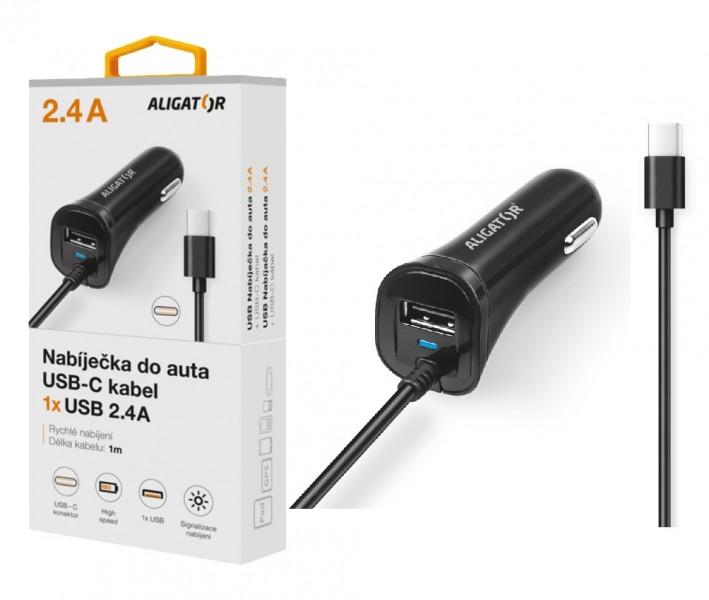Nabíječka do auta ALIGATOR USB-C s USB výstupem, 2.4A, Turbo charge, Black