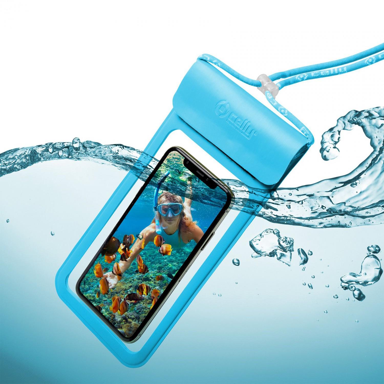 """CELLY Splash Bag 2019 voděodolné pouzdro pro telefony 6.5"""", modrédro CELLY Splash Bag 2019 pro telefony 6,5"""", modré"""