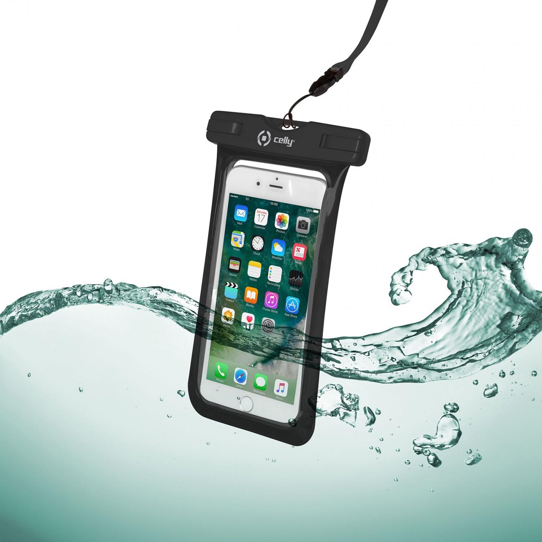 """CELLY Splash Bag voděodolné pouzdro pro telefony 6.2"""", černé"""