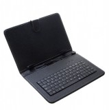 """Pouzdro Tablet 9"""" s klávesnicí microUSB, syntetická kůže, Black"""