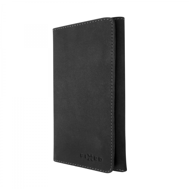 FIXED Pocket Book Kožené pouzdro pro Apple iPhone XR, šedé