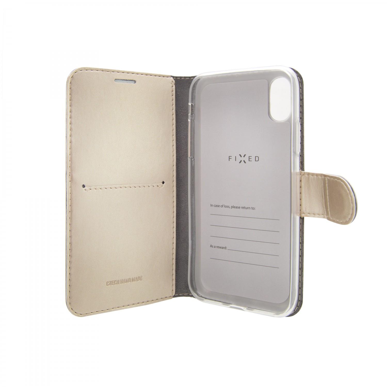 FIXED FIT SHINE flipové pouzdro pro Samsung Galaxy A50, zlaté
