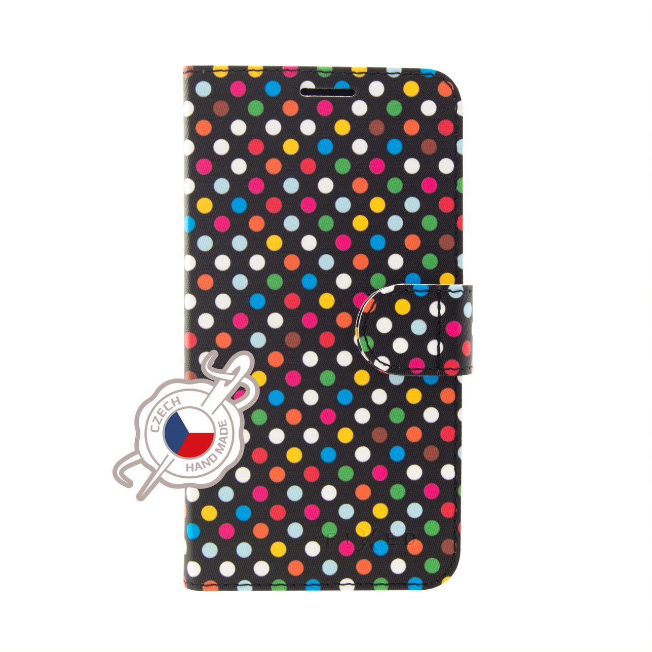 FIXED FIT flipové pouzdro pro Samsung Galaxy A50, motiv Rainbow Dots