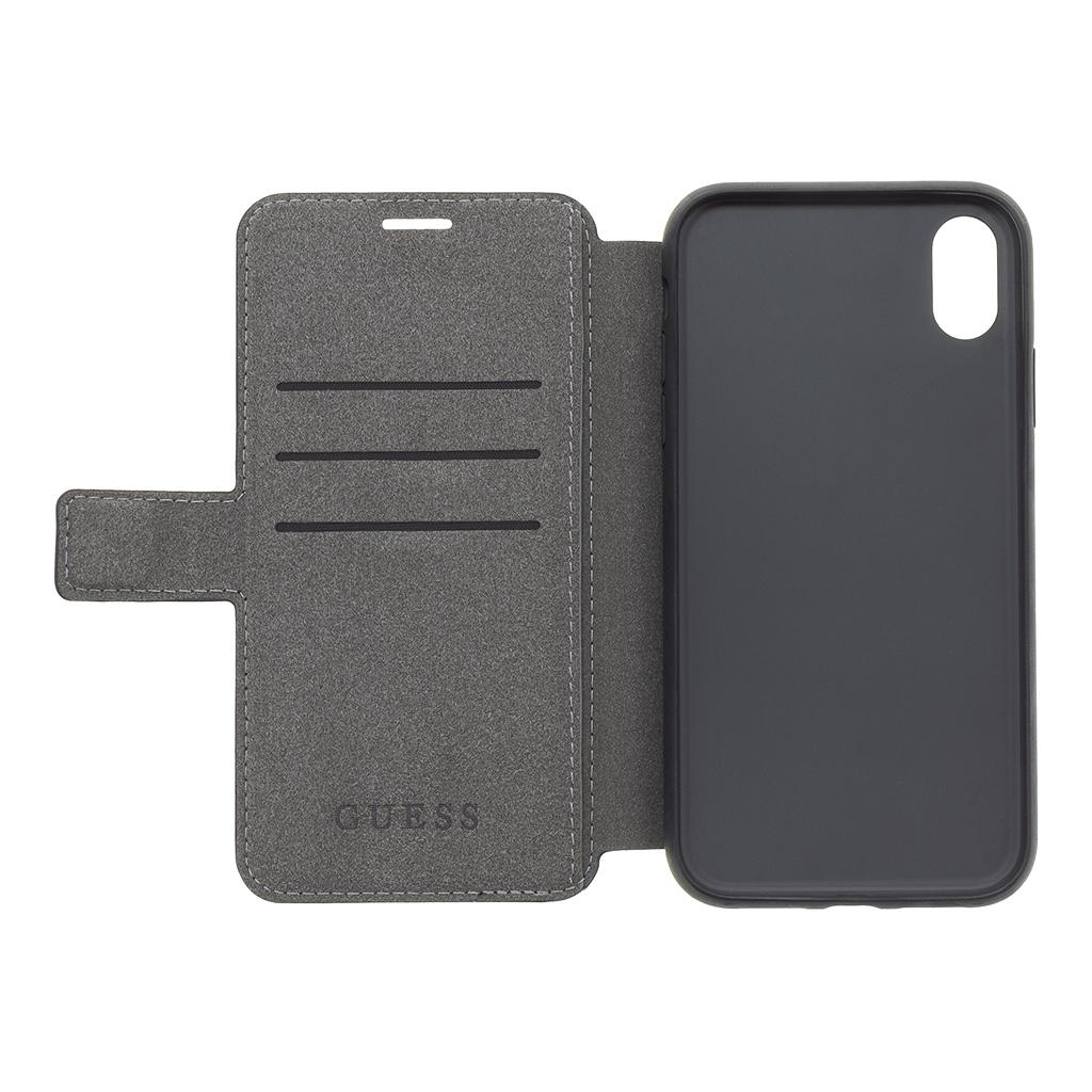 Guess Leather Iridescent GUFLBKI61IGLBK pouzdro flip pro Apple iPhone XR black
