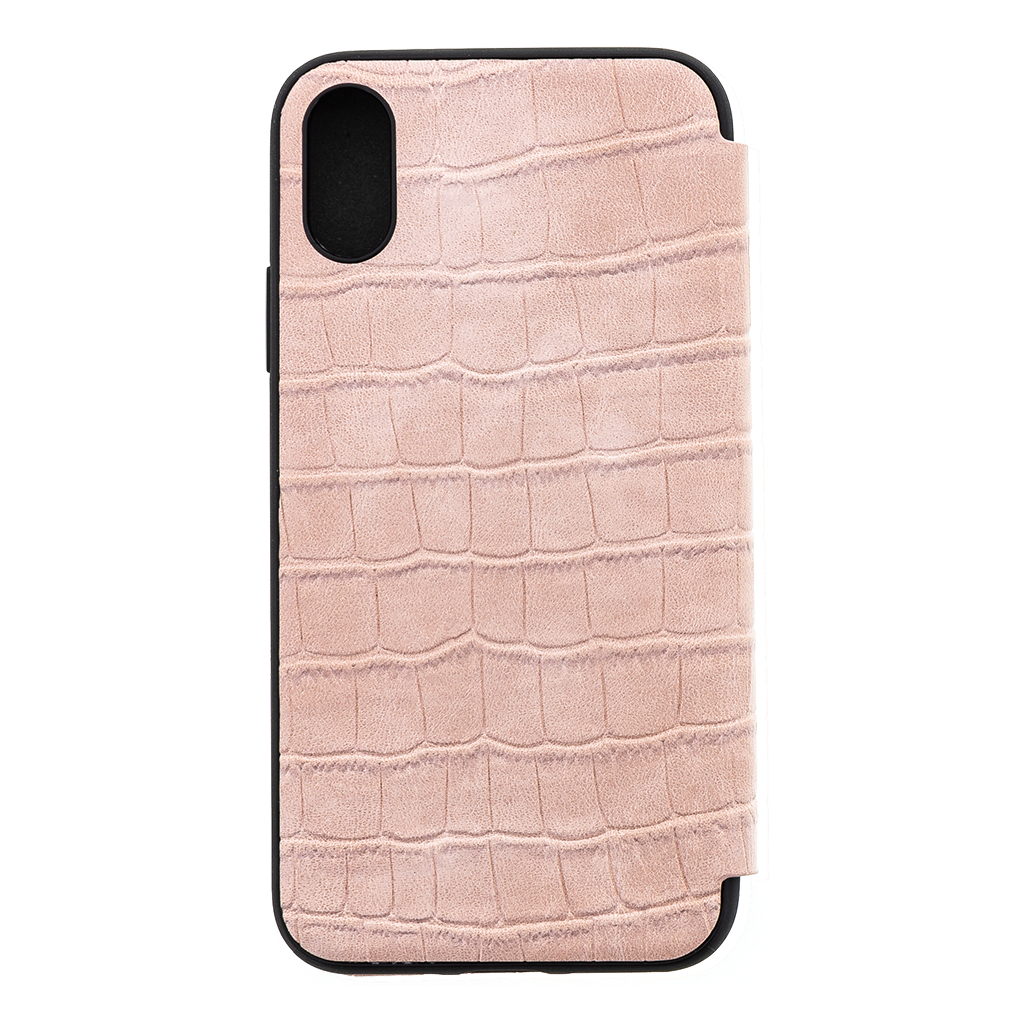 Guess Crocodile GUFLBKPXCSCRO flipové pouzdro pro Apple iPhone X/XS light pink
