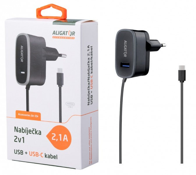 Nabíječka ALIGATOR USB-C s USB výstupem 5V/2,1A, Black
