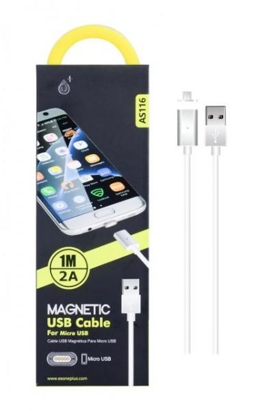 Nabíjecí kabel PLUS, MicroUSB, magnetický (AS116), white
