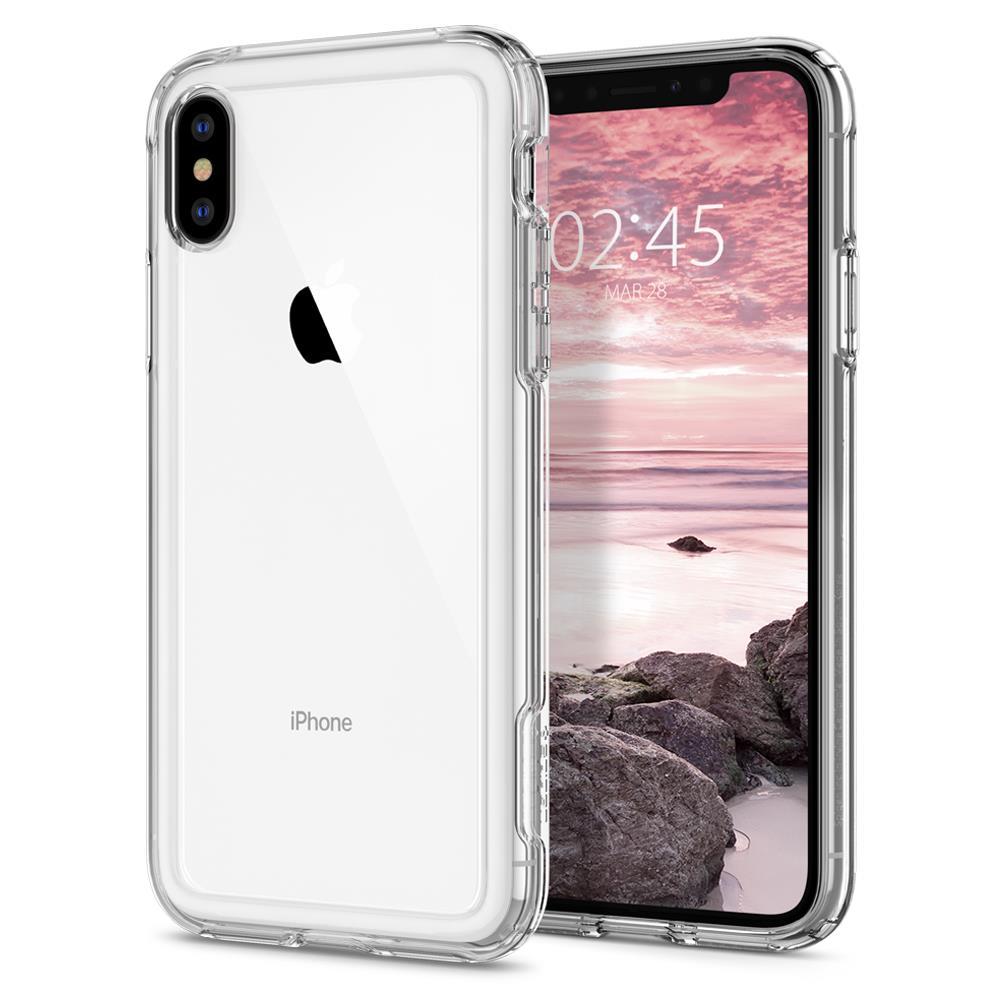 Ochranný kryt Spigen Crystal Hybrid pro Apple iPhone XS/X, transparentní
