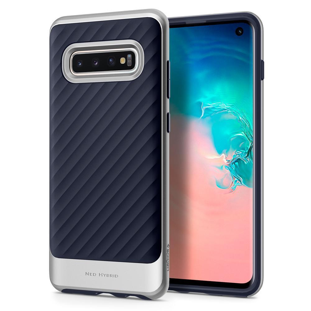 Ochranný kryt Spigen Neo Hybrid pro Samsung Galaxy S10, stříbrný