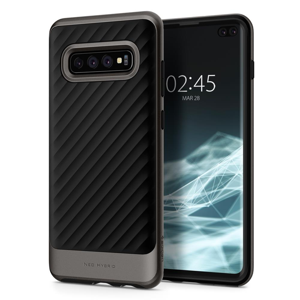 Ochranný kryt Spigen Neo Hybrid pro Samsung Galaxy S10 plus, metalický