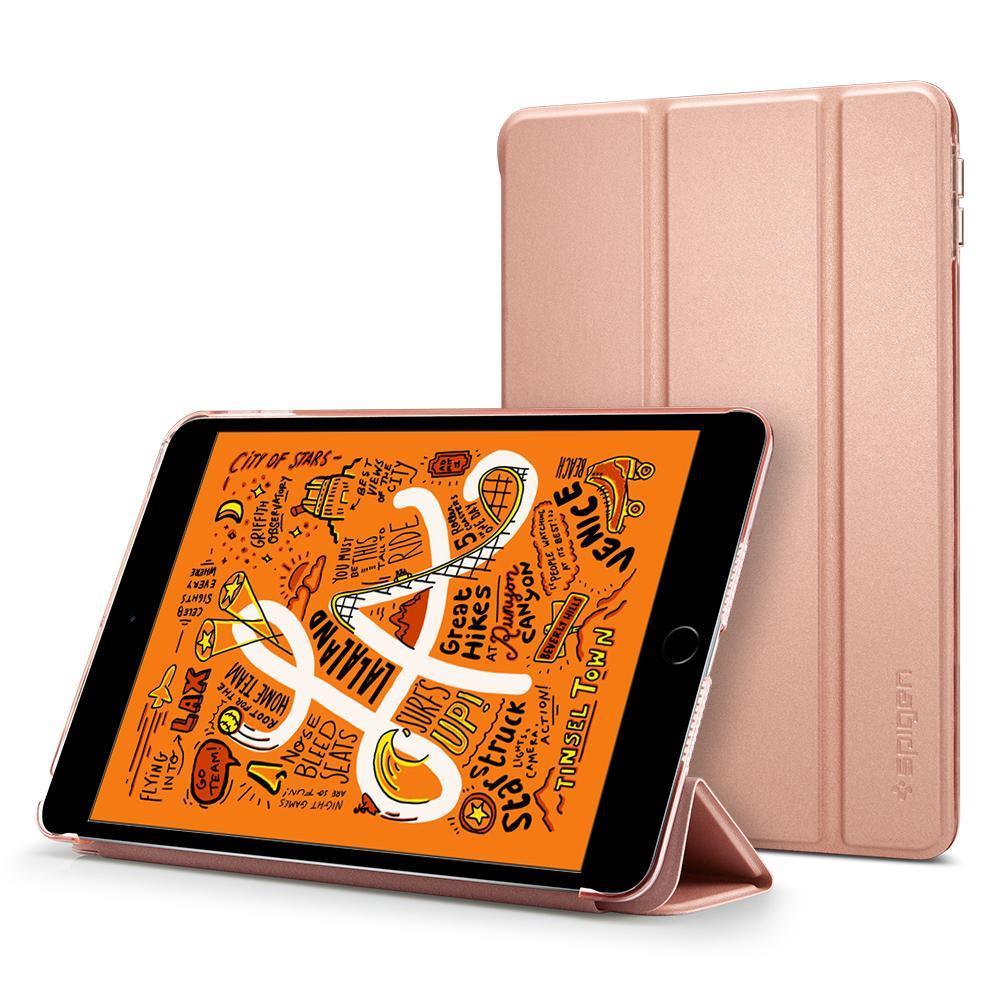 Flipové pouzdro Spigen Smart Fold Case pro Apple iPad mini 5 2019, zlatorůžové