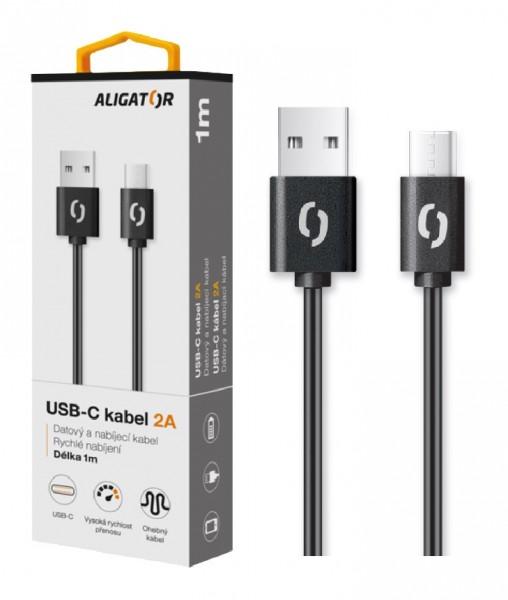 Datový a nabíjecí kabel ALIGATOR 2A, USB-C, 2m, black