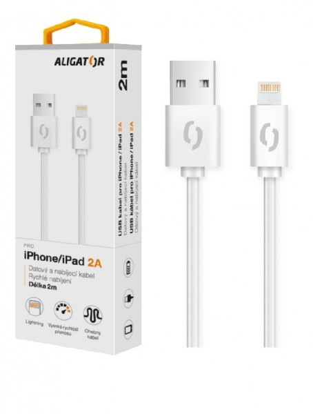 Datový a nabíjecí kabel ALIGATOR 2A pro iPhone, 2m, white