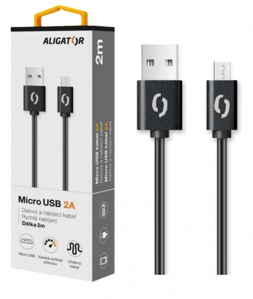 Datový a nabíjecí kabel ALIGATOR 2A micro USB 2m, black