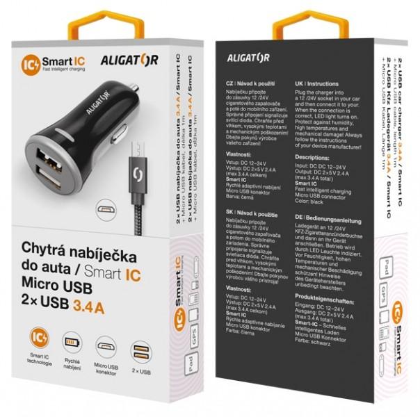 Nabíječka do auta ALIGATOR iPhone/iPad 2xUSB výst. 3.4A, smart IC, black