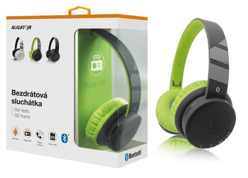 Bluetooth sluchátka ALIGATOR AH02, FM, SD karta, černo/zelená Aligator