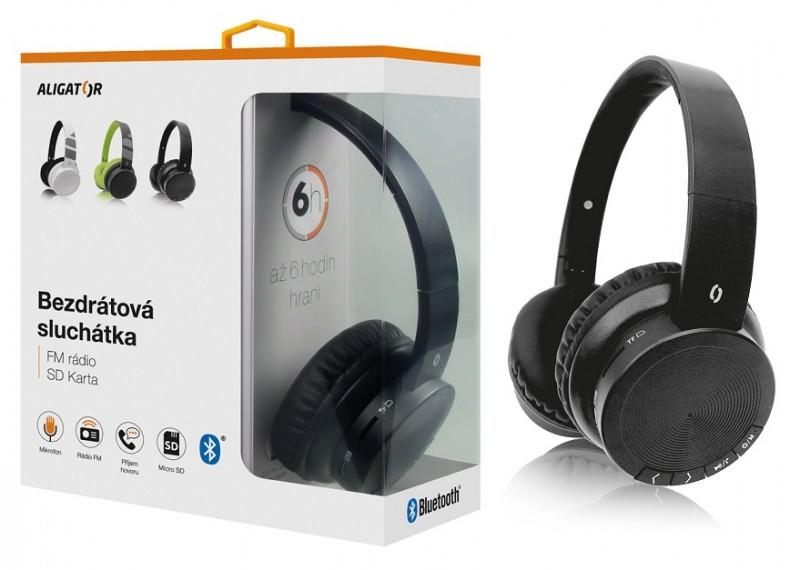 Bluetooth sluchátka ALIGATOR AH02, FM, SD karta, černá Aligator