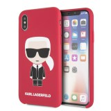 Silikonové pouzdro Karl Lagerfeld Iconic Bull Body Apple iPhone X/XS, red