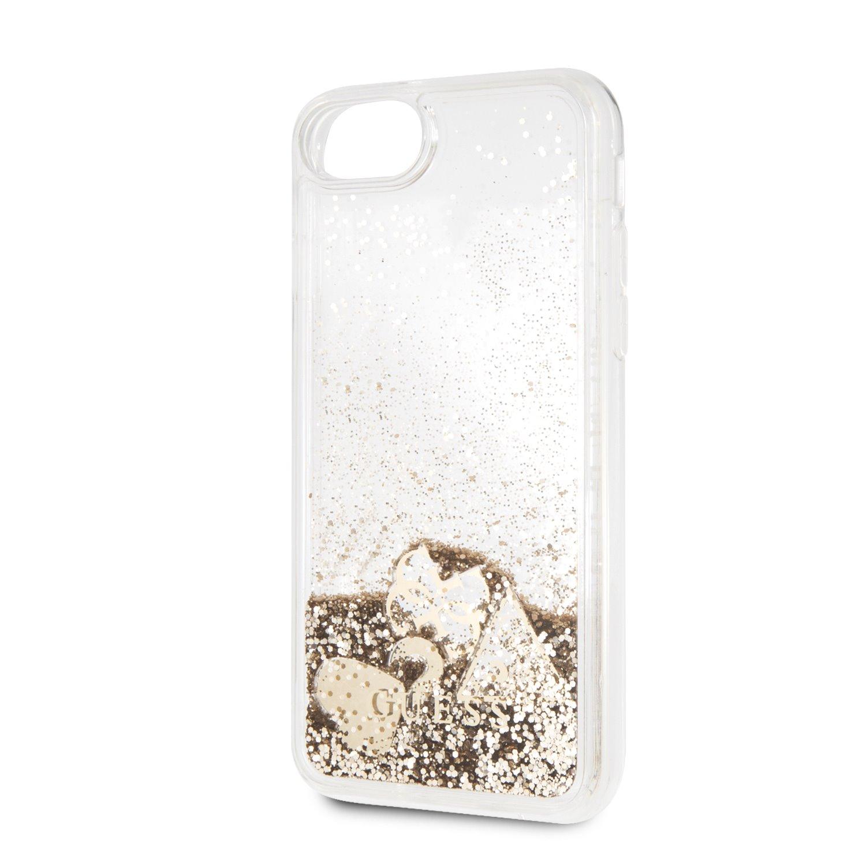 Guess New Glitter Hearts GUHCI8GLHFLGO Pouzdro pro Apple iPhone 8 gold