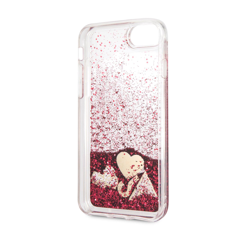 Guess New Glitter Hearts GUHCI8GLHFLRA Pouzdro pro Apple iPhone 8 rapsberry
