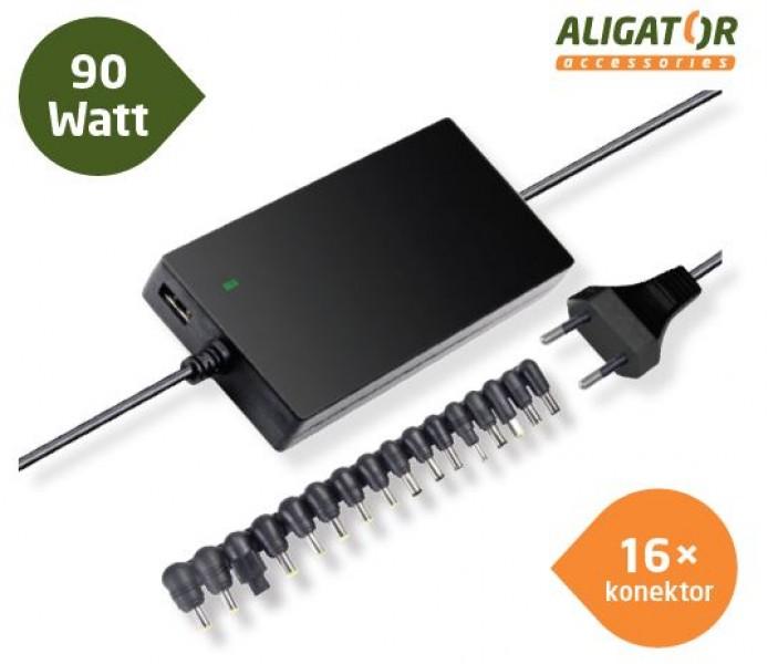 Univerzální adaptér k notebooku s USB výstupem a 16 výměnnými konektory, ultra tenký