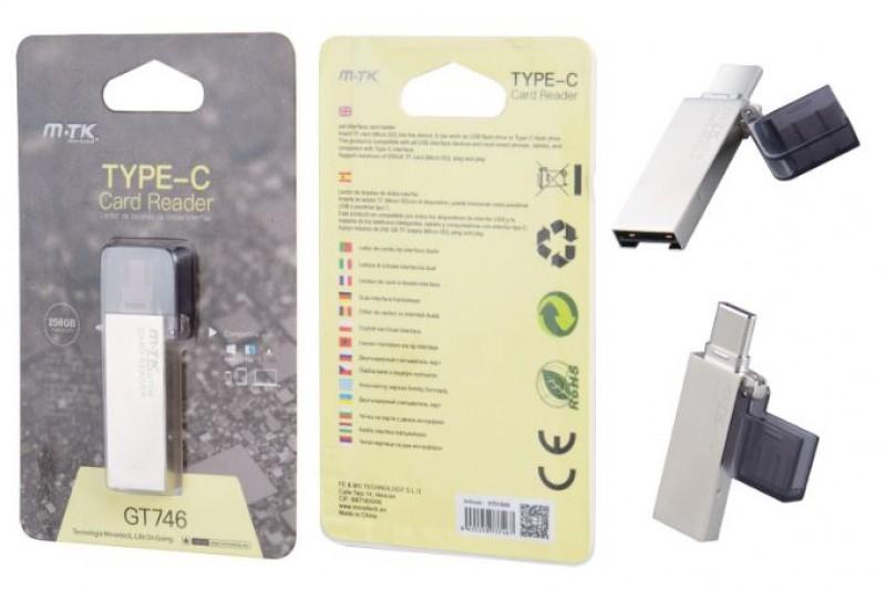 Čtečka karet PLUS GT746, USB-C, microSD