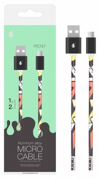 Datový kabel PLUS P5747 Micro USB ,2A, 1M, black