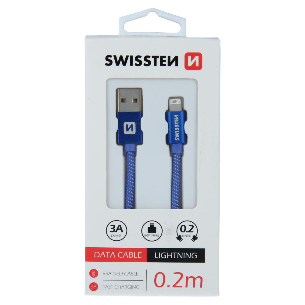 Datový kabel Swissten Textile USB/Lightning, 0,2m, modrý