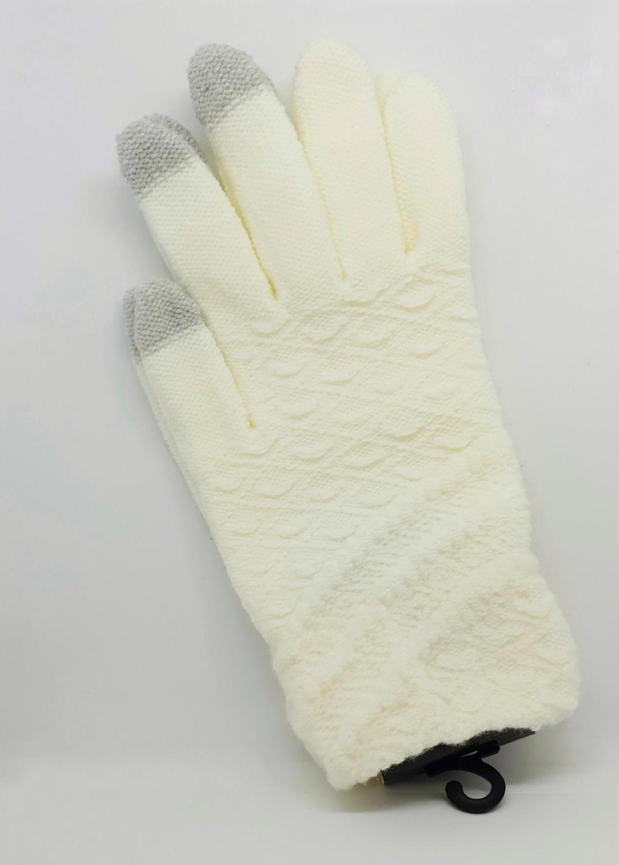Dámské rukavice na dotykový displej, bílá