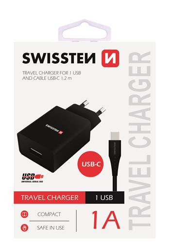 SWISSTEN SÍŤOVÝ ADAPTÉR SMART IC 1x USB 1A POWER + DATOVÝ KABEL USB / TYPE C 1,2 M, ČERNÁ