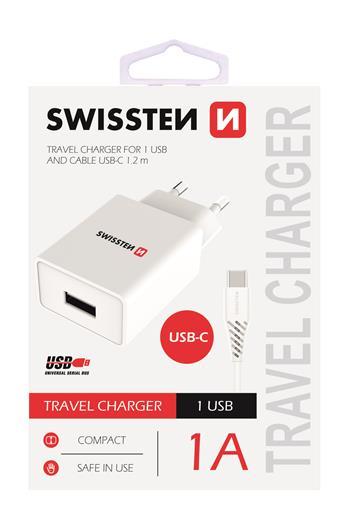 SWISSTEN SÍŤOVÝ ADAPTÉR SMART IC 1x USB 1A POWER + DATOVÝ KABEL USB / TYPE C 1,2 M, BÍLÁ