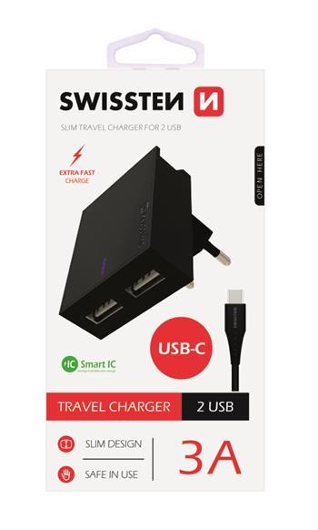SWISSTEN SÍŤOVÝ ADAPTÉR SMART IC 2x USB 3A POWER + DATOVÝ KABEL USB / TYPE C 1,2 M, ČERNÁ