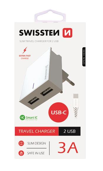 SWISSTEN SÍŤOVÝ ADAPTÉR SMART IC 2x USB 3A POWER + DATOVÝ KABEL USB / TYPE C 1,2 M, BÍLÁ